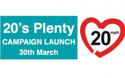 30 Mar – 20's Plenty Launch Event